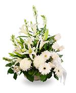 Composition en Panier de Fleurs Blanches Mélangées